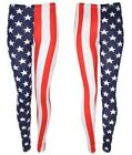 NEW LADIES RED WHITE BLUE USA FLAG STRETCHY JERSEY LEGGINGS PLUS SIZE 14-24