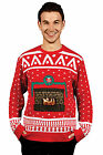 Mens Knitted Crackling Fireplace Christmas Ugly Jumper Sweater Xmas Size Medium