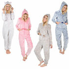 Ladies Embossed Fleece All In One Piece Pyjamas PJs Sleepsuit Onesie Nightwear