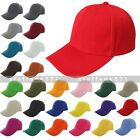 New Plain Solid Baseball Cap Adjustable Velcro Curved Blank Curved Visor Hat