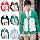 Men Casual Long Sleeve V-neck Splicing Thin Knit Cardigan Sweater Tops 6 Colors