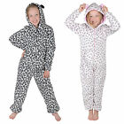 Girls Leopard Animal All In One Onesie With Hood Pyjamas PJs Sleepsuit Nightwear