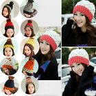 Women Winter Braided Knit Beanie Hat Warm Multicolor Beret Crochet Ski Ball Cap