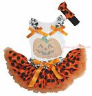 Halloween Rhinestone Pumpkin Top Orange Black Dot Baby Girl Skirt Costume NB-8Y