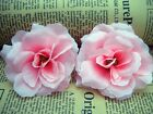"""pink Roses Artificial Flower Heads Wedding Home Card Craft party 3"""" sf87"""