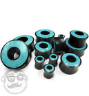 Crushed Turquoise Stone Inlay Tunnel Wood Plugs (00G - 30mm - Sold In Pairs