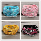 1pc Braided Crystal Leather Cuff Buckle Multi Wrap Bracelet Girls Gift Jewelry