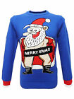 Christmas Xmas Naughty Novelty Santa Jumper in Electric Blue
