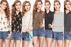 Women Ladies European Style Chiffon Long Sleeve Floral Shirt Tops Blouse T-shirt