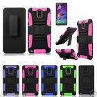 Hybrid Outer Box  Case Cover+Belt Clip Holster Stand For Samsung Galaxy Note 4