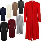 NEW LADIES LONG SLEEVE COLLARED FULL LENGTH MAXI BOYFRIEND CARDIGAN SIZE 8-12