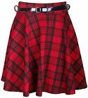 Womens New Tartan Check Printed Ladies Short Mini Belted Flared Skater Red Skirt