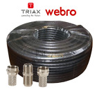 Terminated TV Aerial Freeview & Satellite Coaxial Coax Cable RG6 Black 5m to 30m
