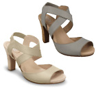 LADIES YOU BY CROCS JABINTA LEATHERS OPEN SANDALS IN BEIGE AND LIGHT GREY