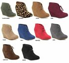 Kyпить New Womens Suede Round Toe Lace Up Booties Shoes High Heels Wedge Ankle Boots на еВаy.соm