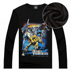 "New Men Round Neck Fleece T-Shirt ""Transformers"" Printed Pullover Tops Warm"