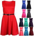 Womens Sleeveless Ladies Stretch Belted Flared Franki Skater Mini Dress Vest Top