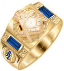 Men's 10k or 14k White or Yellow Gold Masonic Blue Lodge Open Back Ring