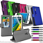 Motorola Moto G 4G LTE PU Leather Phone Book Wallet Case Skin Cover+Pen+SP