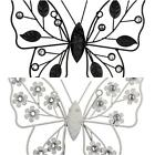 BUTTERFLY WALL ART WITH SILVER GEMS CHOICE OF BLACK LEAF OR WHITE FLOWER VINTAGE