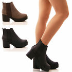 LADIES WOMENS ANKLE BOOTS CHELSEA ELASTIC GUSSET BLOCK HEEL FASHION SHOES SIZE