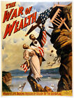 4740.The war of wealth.man.woman hang from cliff.POSTER.Decoration.Graphic Art