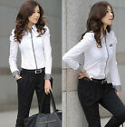Women Career Button Down Shirt Office Lady Casual Long Sleeve Tops Blouse Tee