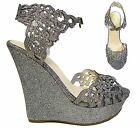 Pewter Silver Platform Wedge Ankle Strap Heels Sandals Shoes Bamboo