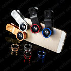 3in1 Universal Clip Lens Kit Fisheye+Wide-angle+Macro Lens for iPhone Samsung