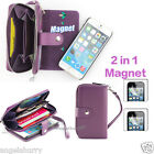 Purple Zip Purse Leather Case Cover For Apple iPhone 4S 4+2Film
