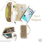 Gold Zip Purse Leather Case Cover For Apple iPhone 4S 4