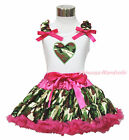 Valentine's Day Camouflage Heart White Top Baby Girl Pettiskirt Outfit Set 1-8Y