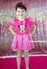 Pink Minnie Hot Pink White Polka Dots Bow Princess Dress Girl Costume 6M-8Y