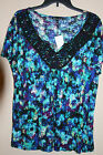 Cable & Gauge Blue/White/White Flutter Sleeve Printed Crochet Top M