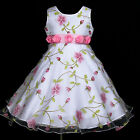 VarWed2053 w779 White Wedding Holiday Party Pink X'mas Flower Girls Dress 2-12y