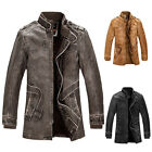 Mens Military Pu leather Jacket Punk Bomber Trench Parka Coat Outwear fur lining