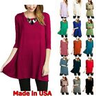 USA Womens Round Neck Long Tunic Top Dress 3/4 Sleeve Shirt S M L XL Plus 2X 3X