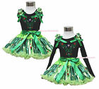 Rhinestone Princess Anna Brooch Black Top Coronation Pettiskirt Girl Outfit 1-8Y