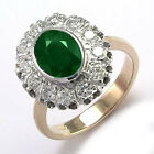 14k Rose and White Gold Genuine Emerald & Diamond G/SI1 Russian Style Ring R1806