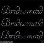 WEDDING BRIDESMAID IRON-ON RHINESTONE DIAMANTE BLING HEN NIGHT PARTY T SHIRT