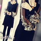 Sexy Black Yarn Embroidered Lantern Long Sleeve Loose Dresses For Women S-4XL