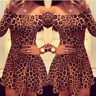 Free Shipping Womens Off Shoulder Party Club Pub Ball Leopard SHORT mini Dresses