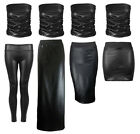 NEW LADIES BLACK PVC WET LOOK TWO PIECE MIDI MINI MAXI RUCHED BOOBTUBE TOP SKIRT