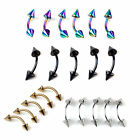 10 x Stainless Steel Spike Curved Barbell Eyebrow Rings Bar Tragus Body Piercing
