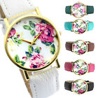 1pc Flower Floral Printed Quartz Analog Leather Wrist Watch Fashion Jewelry Gift