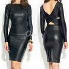 PU Faux Leather Reversible Solid Black Party Evening Formal Cocktail Dress OBS