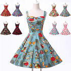 UK STOCK 50S RETRO VINTAGE STYLE POLKA DOT ROCKABILLY SWING STRAPPY FLORAL DRESS