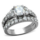 1.28 CT Round Cut CZ Cubic Zirconia Stainless Steel Wedding Ring Set Women's