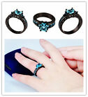 Size 5-11 Princess Cut Aquamarine Band Women's 10KT Black Gold Filled Party Ring