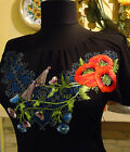 Ukrainian Embroidered Women's T Shirt ( blouse ), Black. Floral and Short Sleeve